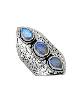 Labradorite Solid 925 Sterling Silver 3 Stone Ring