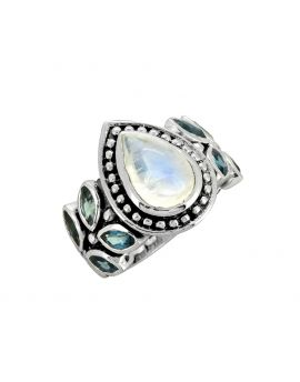 Moonstone London Blue Topaz Solid 925 Sterling Silver Ring