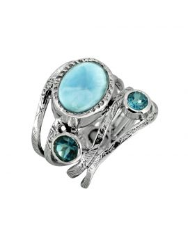Larimar London Blue Topaz Solid 925 Sterling Silver Ring