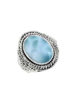 Larimar Solid 925 Sterling Silver Gemstone Ring