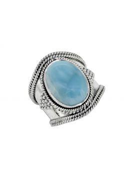 Natural Larimar Solid 925 Sterling Silver Gemstone Ring