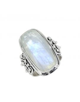 Rainbow Moonstone Solid 925 Sterling Silver Ring