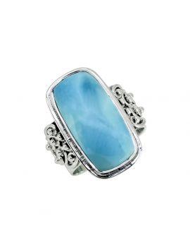 Larimar Stone Solid 925 Sterling Silver Gemstone Ring