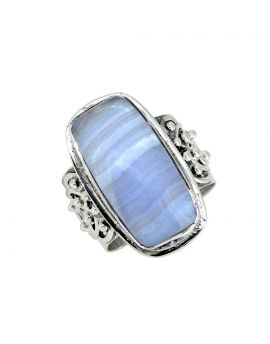 Blue Lace Agate Solid 925 Sterling Silver Gemstone Ring