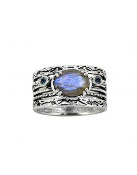 Labradorite Swiss Blue Topaz Solid 925 Sterling Silver Ring