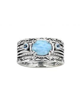 Larimar Swiss Blue Topaz 925 Sterling Silver Gemstone Ring