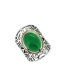 Green Onyx Solid 925 Sterling Silver Brass Designer Ring