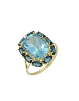 10.05 ct Sky Blue Topaz Solid 14K Yellow Gold Ring