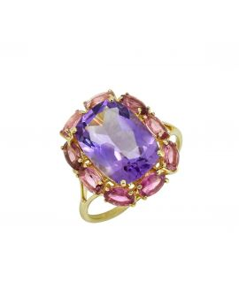 8.30 ct Pink Amethyst Solid 14K Yellow Gold Gemstone Ring