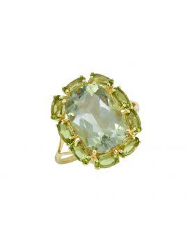 8.36 ct Green Amethyst Peridot Solid 14K Yellow Gold Ring