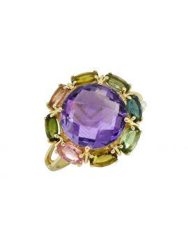 7.54 cttw Purple Amethyst Solid 14K Yellow Gold Gemstone Ring