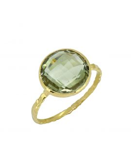 5.77 cttw Green Amethyst Solid 14K Yellow Gold Ring