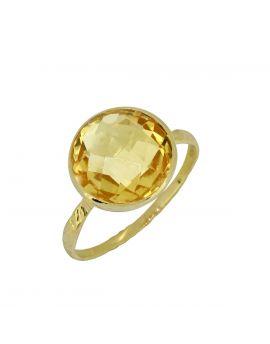 5.6 ct Citrine Solid 14K Yellow Gold Gemstone Ring
