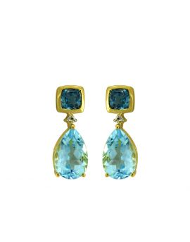 8.24 Ct. Sky Blue Topaz Silver Yellow Gold Plating Earrings
