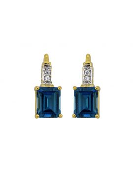 4.65 Ct. London Blue Topaz Silver Yellow Gold Plating Earrings