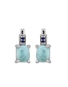 4.65 Ct. Larimar Blue Sapphire Sterling Silver Stud Earrings
