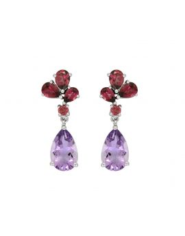 14.15 ct Pink Amethyst Solid 925 Sterling Silver Stud Earrings