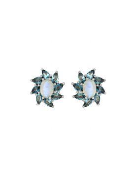 4.65 ct Moonstone Solid 925 Sterling Silver Stud Earrings