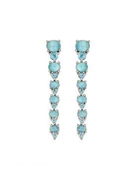 5.33 ct Solid 925 Sterling Silver Larimar Gemstone Earrings