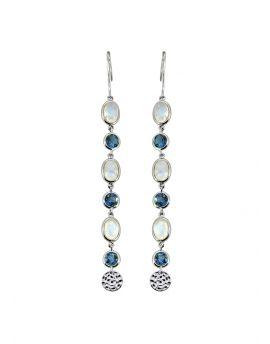 4.58 ct Moonstone Solid 925 Sterling Silver Dangle Earrings