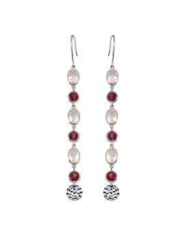 4.65 ct Rose Quartz Solid Sterling Silver Dangle Earrings