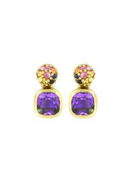 1.62 Ct. Amethyst 14K Yellow Gold Stud Earrings