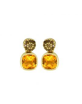 1.62 Ct. Citrine 14K Yellow Gold Stud Earrings