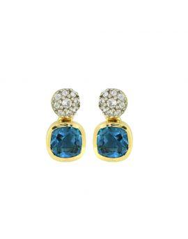 1.62 Ct. London Blue Topaz 14K Yellow Gold Stud Earrings