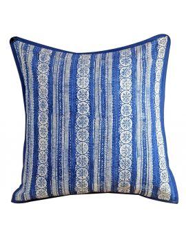 "Handblock Print Kantha Stitch Poly Filled Decorative Accent Throw Pillow  20"" x 20""   Blue Indigo"