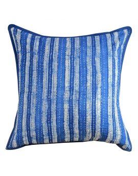 "Handblock Print Cotton Kantha Stitch Poly Filled Decorative Throw Pillow  20"" x 20""   Blue Indigo"