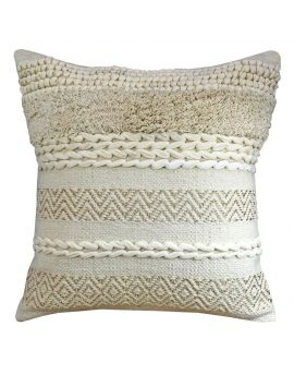 """Luxury Cotton Jacquard Poly Filled Decorative Throw Pillow  20"""" x 20""""  Ivory"""