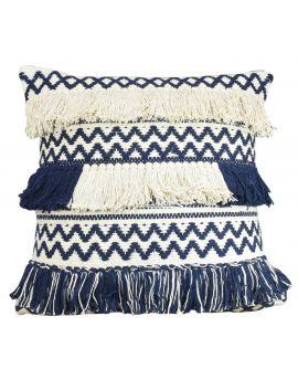 "Zig Zag Style Design Fringe Poly Filled Decorative Accent Throw Pillow  20"" x 20""  BlackWhite"