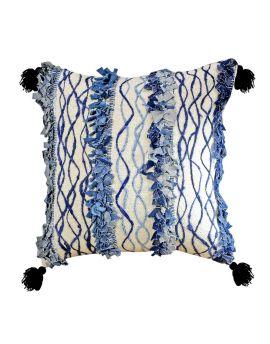 "20"" x 20"" Blue Indigo Luxury Cotton Jacquard Fringe Poly Filled Decorative Throw Pillow"