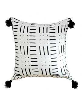 """Classic Black Tribeca Poly Filled Decorative Throw Pillow  20"""" x 20"""", White"""