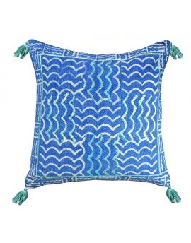 """Decorative Throw Pillow Blue Indigo Dhurrie Poly Filled Accent Couch   20"""" x 20"""""""