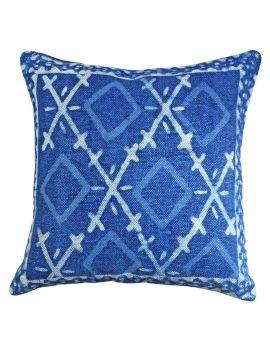 "Home Decor Cotton Blue Indigo Poly Filled 20"" x 20"" Decorative Throw Pillow"