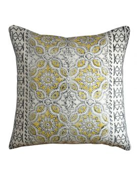 """Bohemian Floral Pattern Poly Filled Decorative Throw Pillow  20"""" x 20""""   Yellow"""