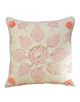 """Mandala Block Printed Poly Filled Decorative Throw Pillow  20"""" x 20""""  Pink"""