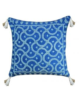 """Blue Indigo Embroidery Printed Rug Poly Filled Decorative Throw Pillow  20"""" x 20"""""""