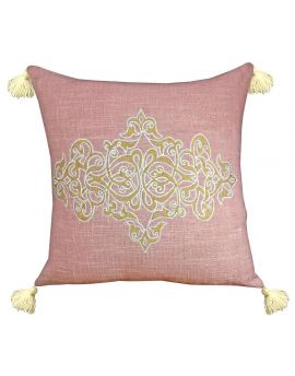"""Royal Printed Embroidery Poly Filled Decorative Throw Pillow  20"""" x 20""""  Pink"""