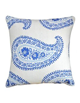 """Floral Printed Rug Poly Filled Decorative Paisley Accent Throw Pillow  20"""" x 20""""  BlueWhite"""
