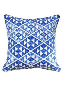 """Square Printed Rug Poly Filled Decorative Accent Throw Pillow  20"""" x 20""""  Blue"""