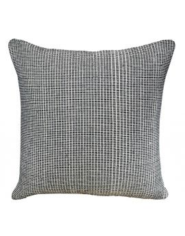 """Black Textured Woven Yarn Dyed Poly Filled Decorative Accent Throw Pillow  20"""" x 20"""""""