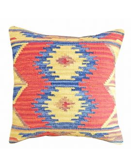 """Woven Yarn Dyed Poly Filled Decorative Accent Throw Pillow  20"""" x 20""""  RedBlue Ikat"""