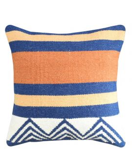 """Orange Blue Stripe Woven Yarn Dyed Poly Filled Decorative Throw Pillow  20"""" x 20"""""""