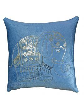 "Shiny Elephant Gold Foil Print Velvet Poly Filled Decorative Throw Pillow  20"" x 20""  Black"