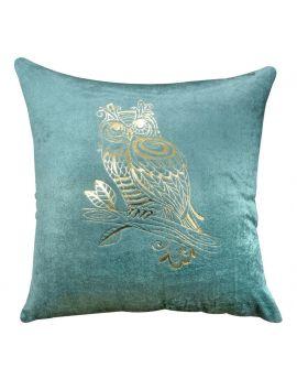 "Shiny Owl Gold Foil Print Velvet Poly Filled Decorative Throw Pillow  20"" x 20""  Pine Green"