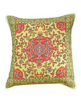 """Green Floral Persian Bohemian Style Poly Filled Decorative Throw Pillow  20"""" x 20"""""""
