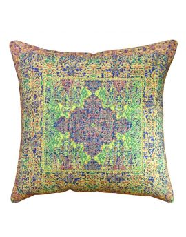 """20"""" x 20"""" Decorative Blue Dhurrie Couch Bed Home Decor Poly Filled Throw Pillow  Multi"""