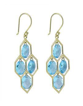 13.00 Ct. Swiss Blue Topaz Solid 14K Yellow Gold Dangle Earrings